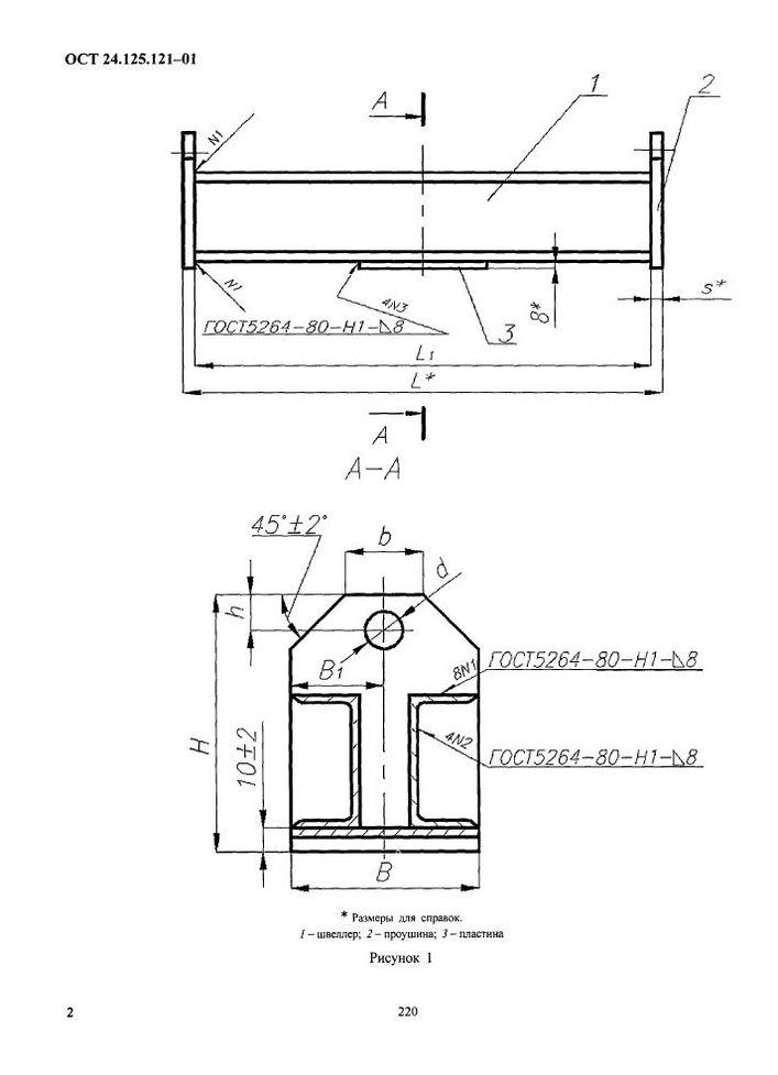 Балки опорные с проушинами ОСТ 24.125.121-01 стр.2
