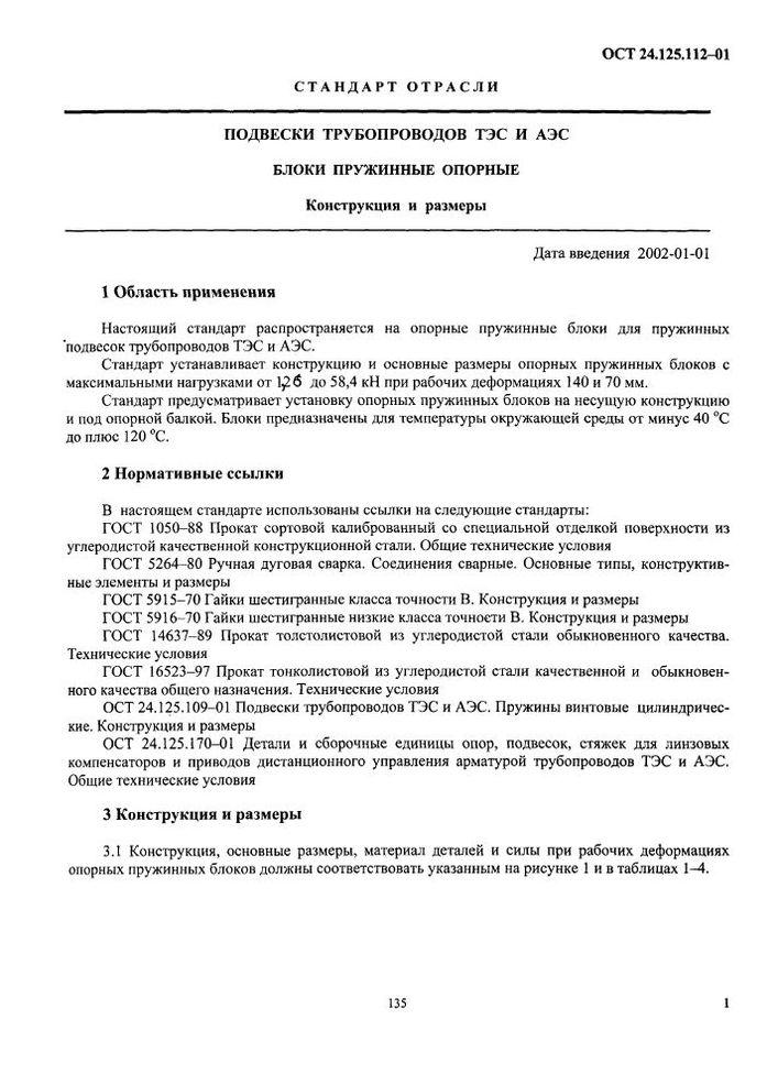 Блоки пружинные опорные ОСТ 24.125.112-01 стр.1