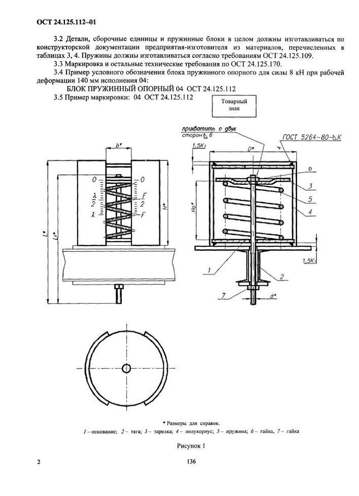 Блоки пружинные опорные ОСТ 24.125.112-01 стр.2