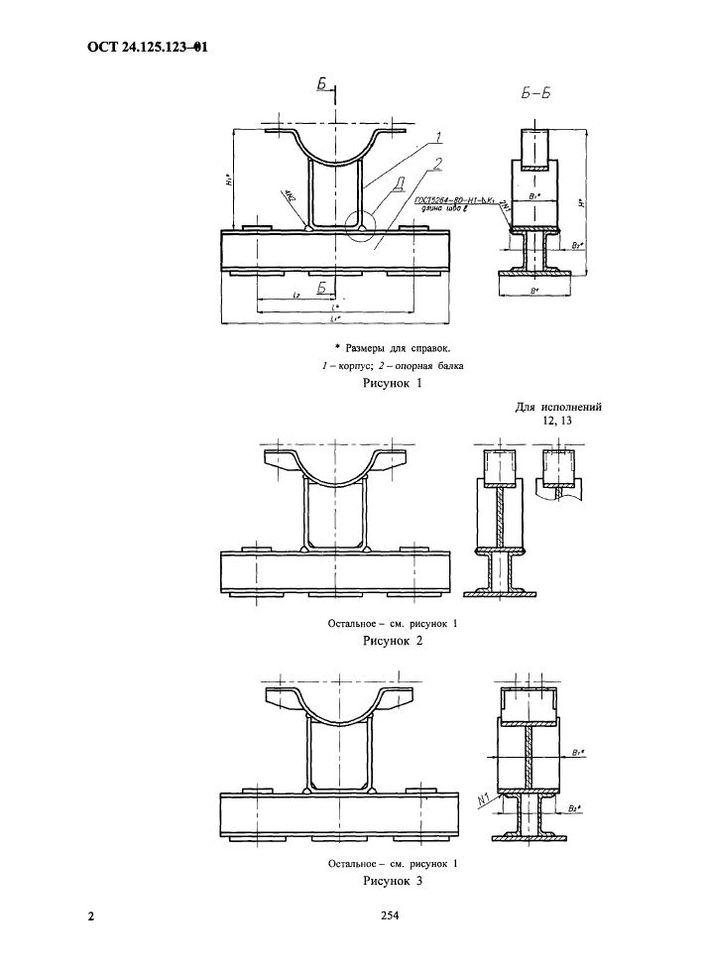 Корпуса на опорной балке для пружин ОСТ 24.125.123-01 стр.2