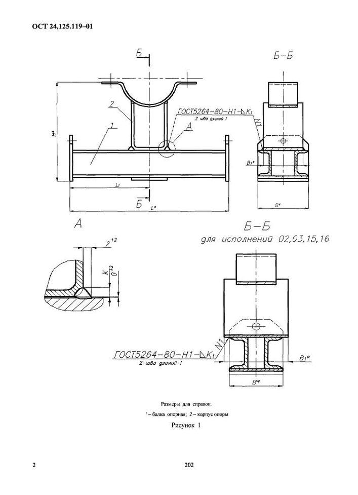 Корпуса на опорной балке с проушинами ОСТ 24.125.119-01 стр.2