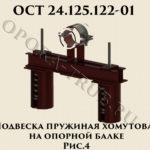 Подвеска пружинная хомутовая на опорной балке рис.4 ОСТ 24.125.122-01