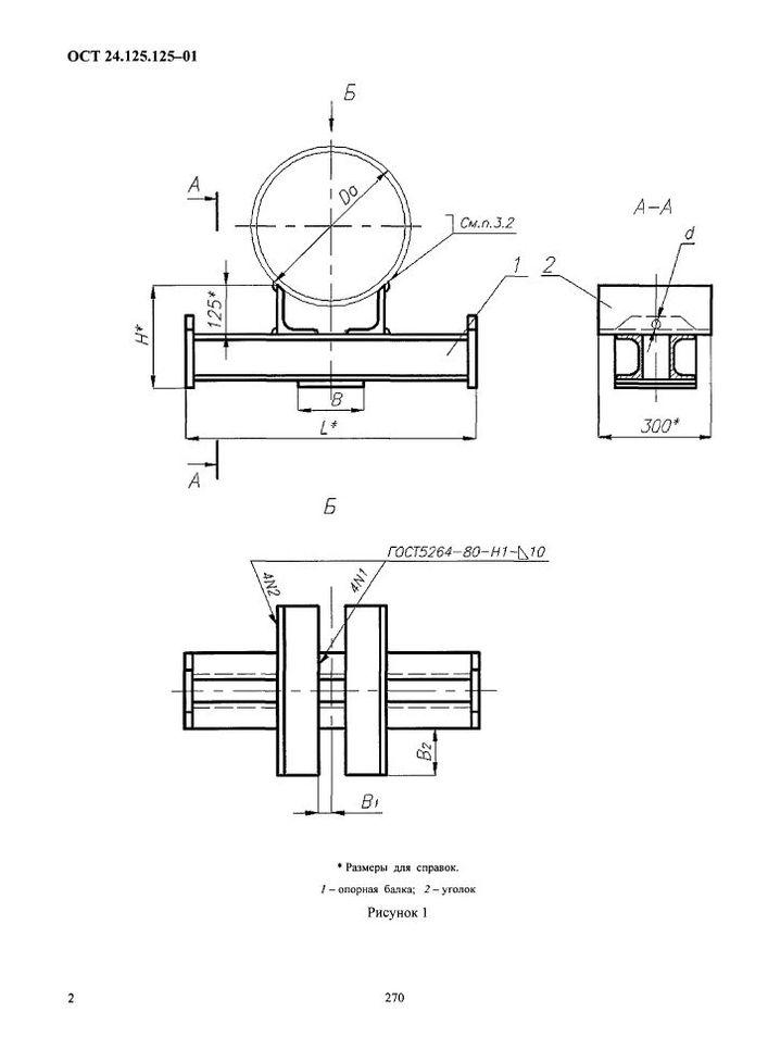 Подвески приварные на опорной балке с проушинами ОСТ 24.125.125-01 стр.2