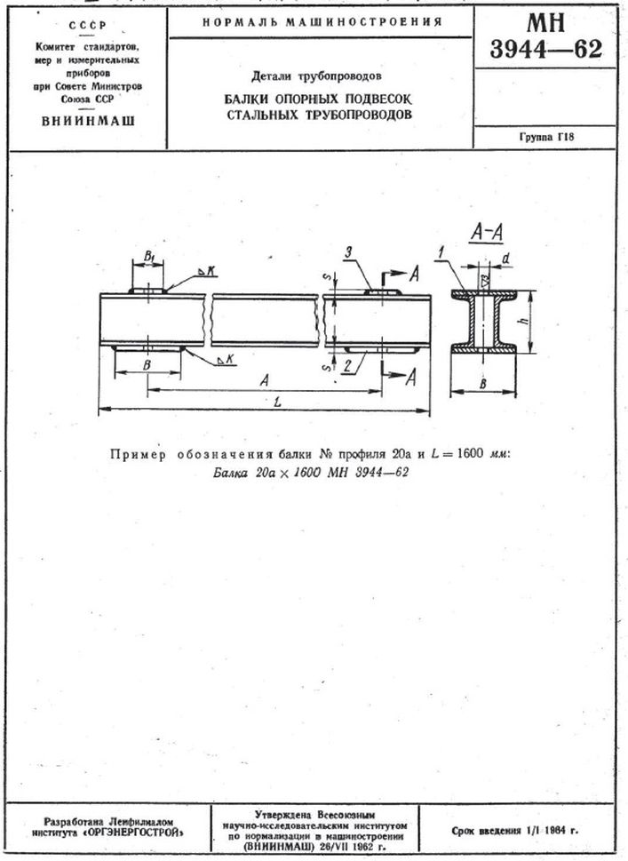 Балки опорных подвесок МН 3944-62
