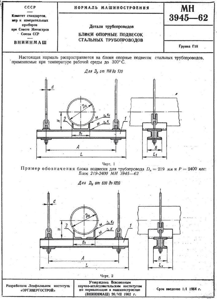 Блоки опорные МН 3945-62