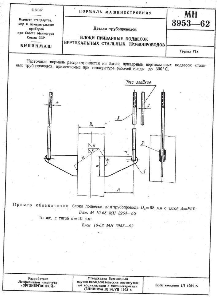 Блоки приварные подвесок вертикальных трубопроводов МН 3953-62