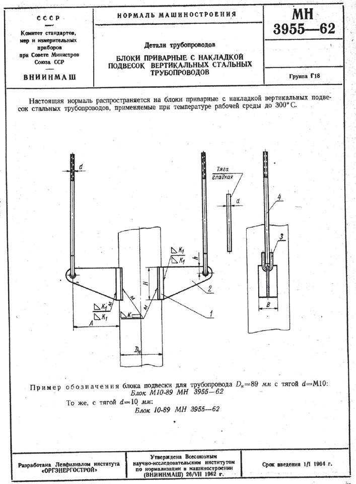 Блоки приварные с накладкой подвесок вертикальных трубопроводов МН 3955-62