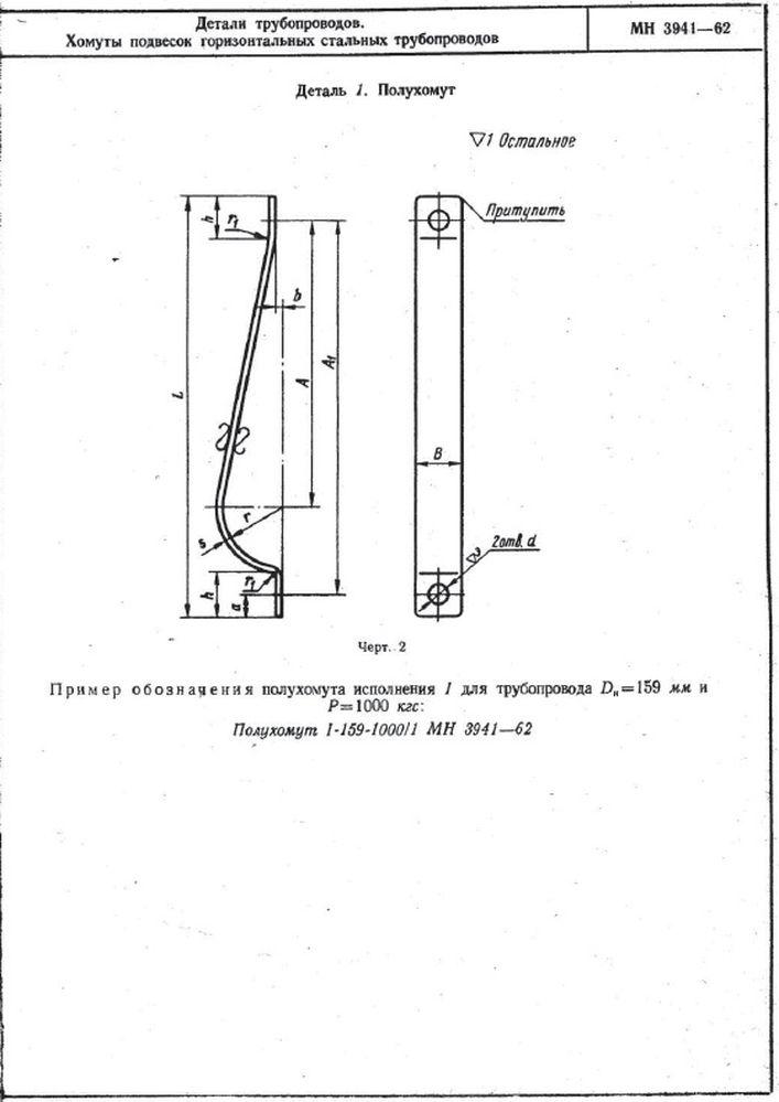 Хомуты подвесок горизонтальных трубопроводов МН 3941-62 стр.3