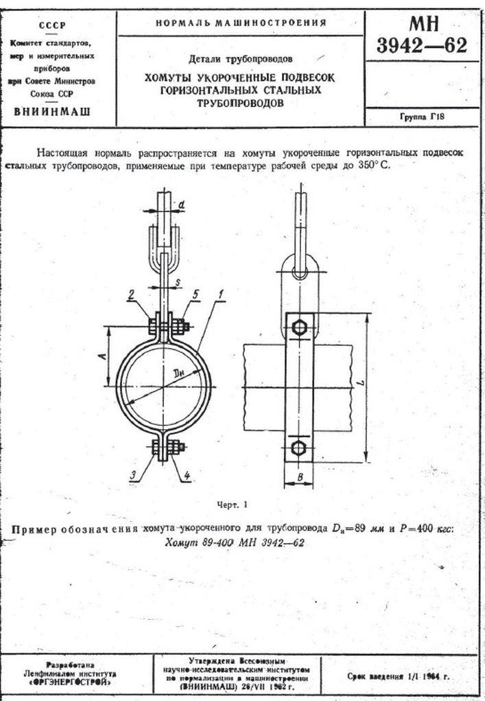 Хомуты укороченные подвесок горизонтальных трубопроводов МН 3942-62 стр.1