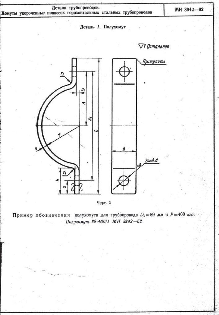 Хомуты укороченные подвесок горизонтальных трубопроводов МН 3942-62 стр.2