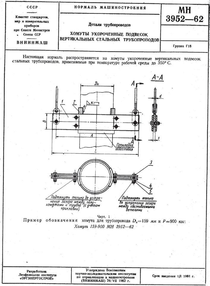 Хомуты укороченные подвесок вертикальных трубопроводов МН 3952-62 стр.1