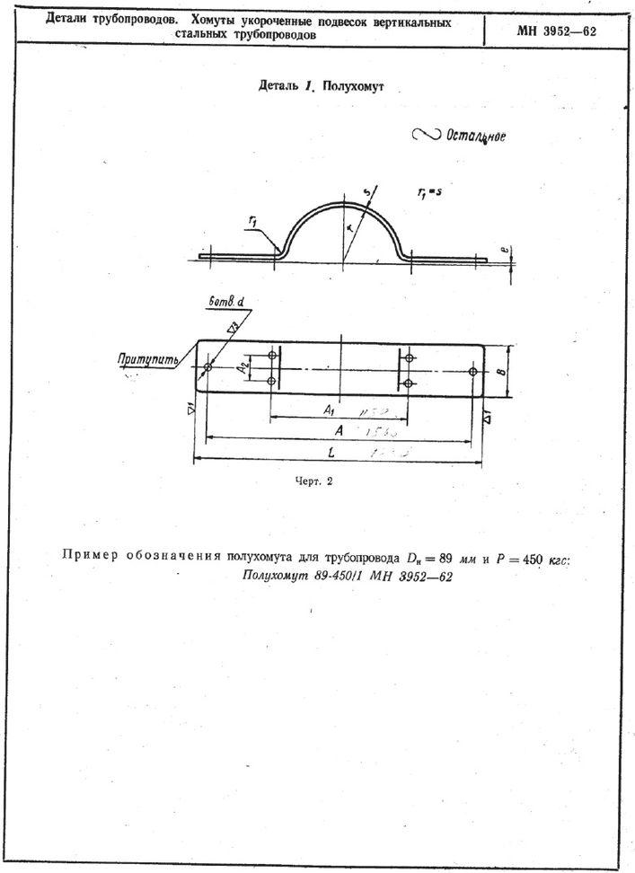 Хомуты укороченные подвесок вертикальных трубопроводов МН 3952-62 стр.2