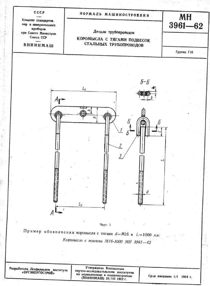 Коромысла с тягами подвесок трубопроводов МН 3961-62 стр.1