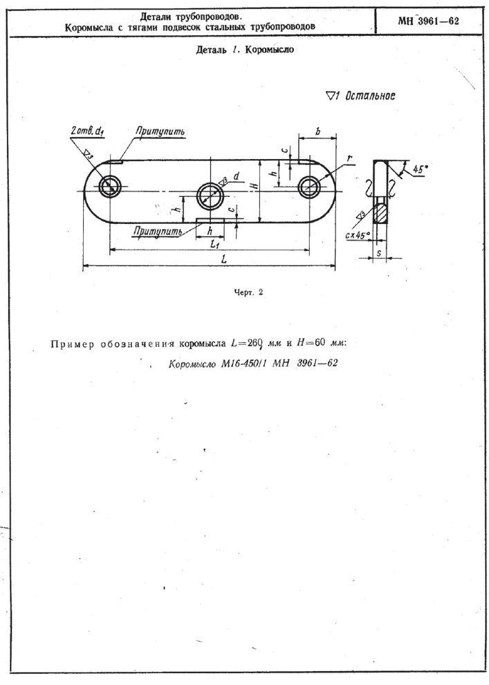 Коромысла с тягами подвесок трубопроводов МН 3961-62 стр.2