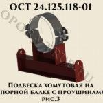 Подвеска хомутовая на опорной балке с проушинами рис.3 ОСТ 24.125.118-01