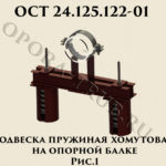 Подвеска пружинная хомутовая на опорной балке рис.1 ОСТ 24.125.122-01