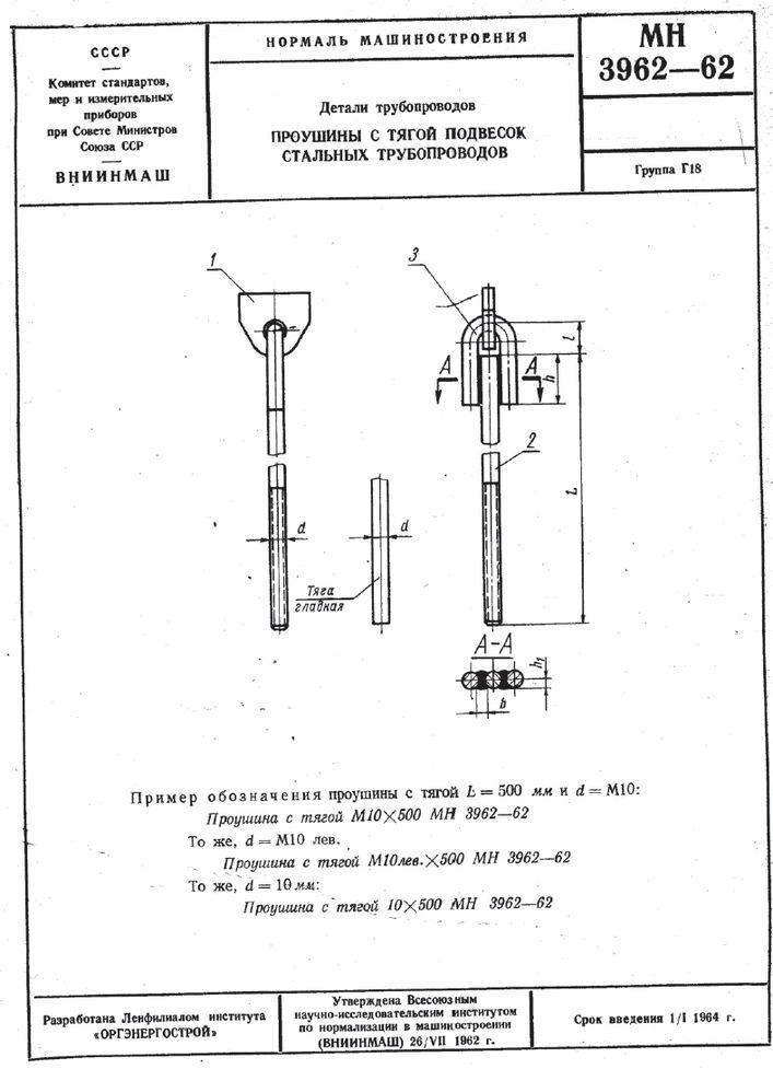 Проушины с тягой подвесок трубопроводов МН 3962-62