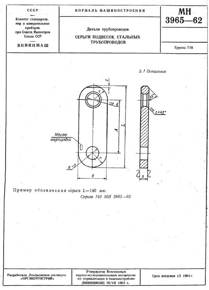 Серьги подвесок стальных трубопроводов МН 3965-62