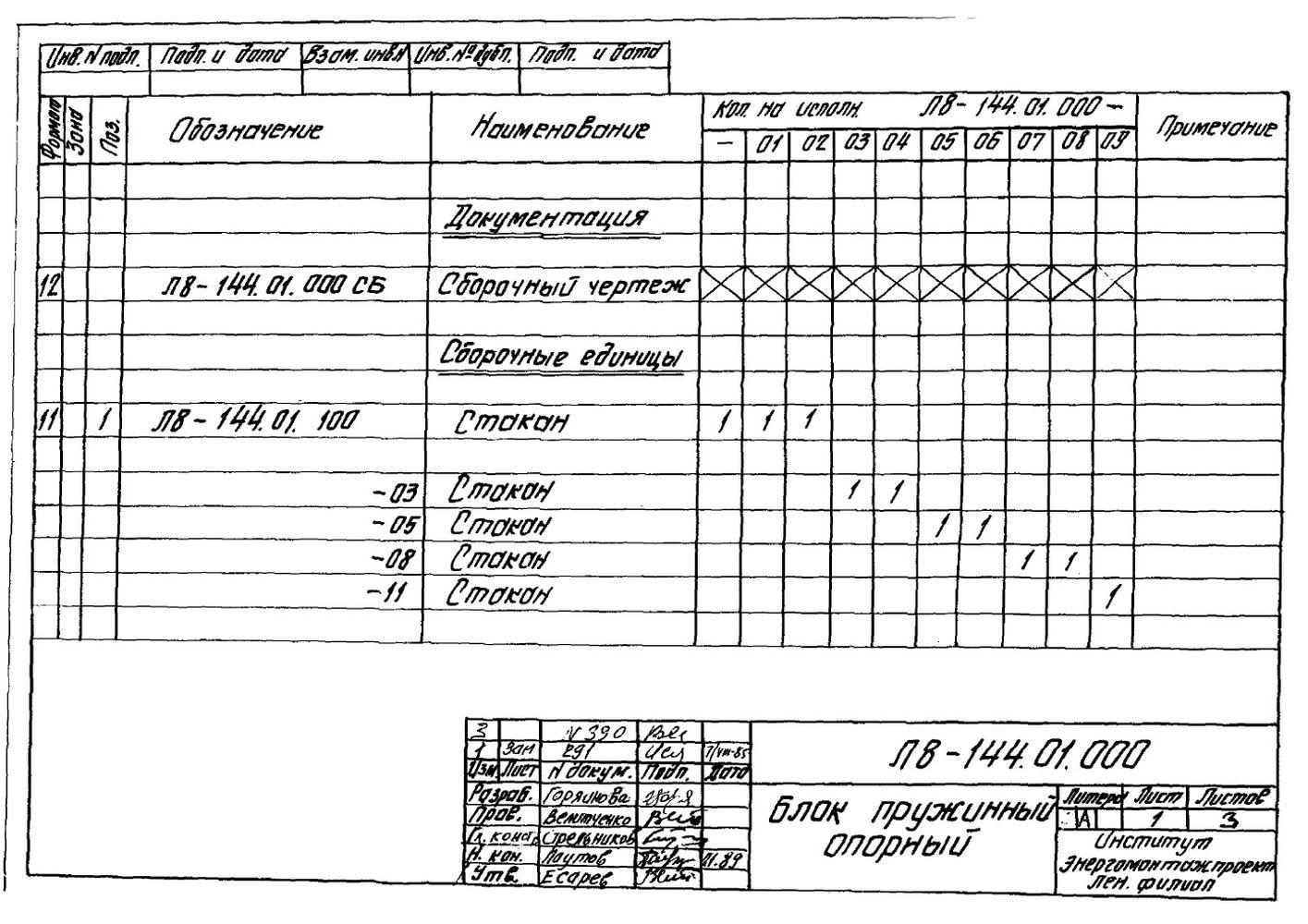 Блок пружинный опорный Л8-144.01.000 стр.2