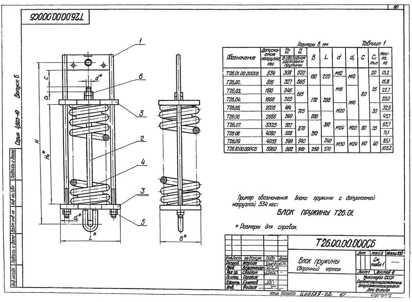 Блоки пружин Т26.00.00.000СБ стр.1