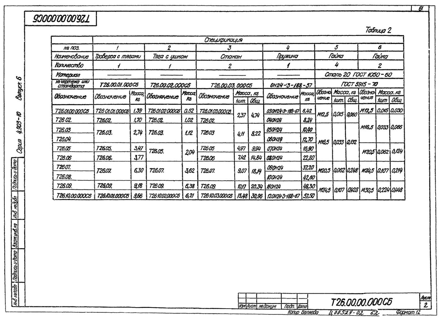 Блоки пружин Т26.00.00.000СБ стр.2
