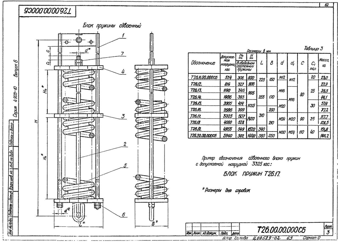 Блоки пружин Т26.00.00.000СБ стр.3