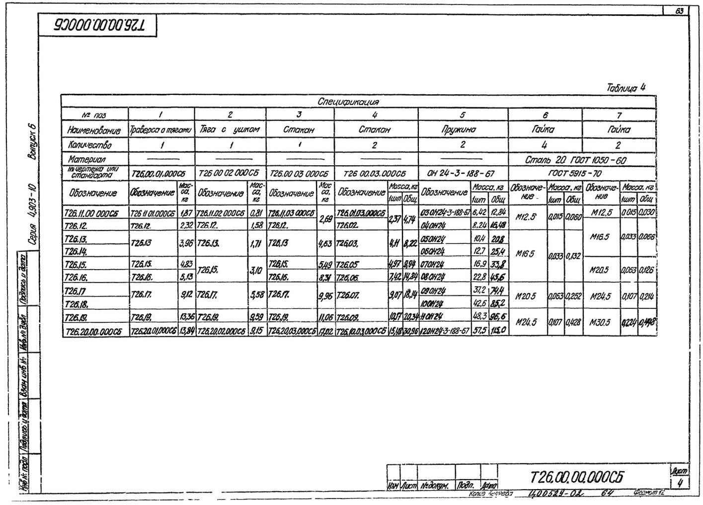 Блоки пружин Т26.00.00.000СБ стр.4