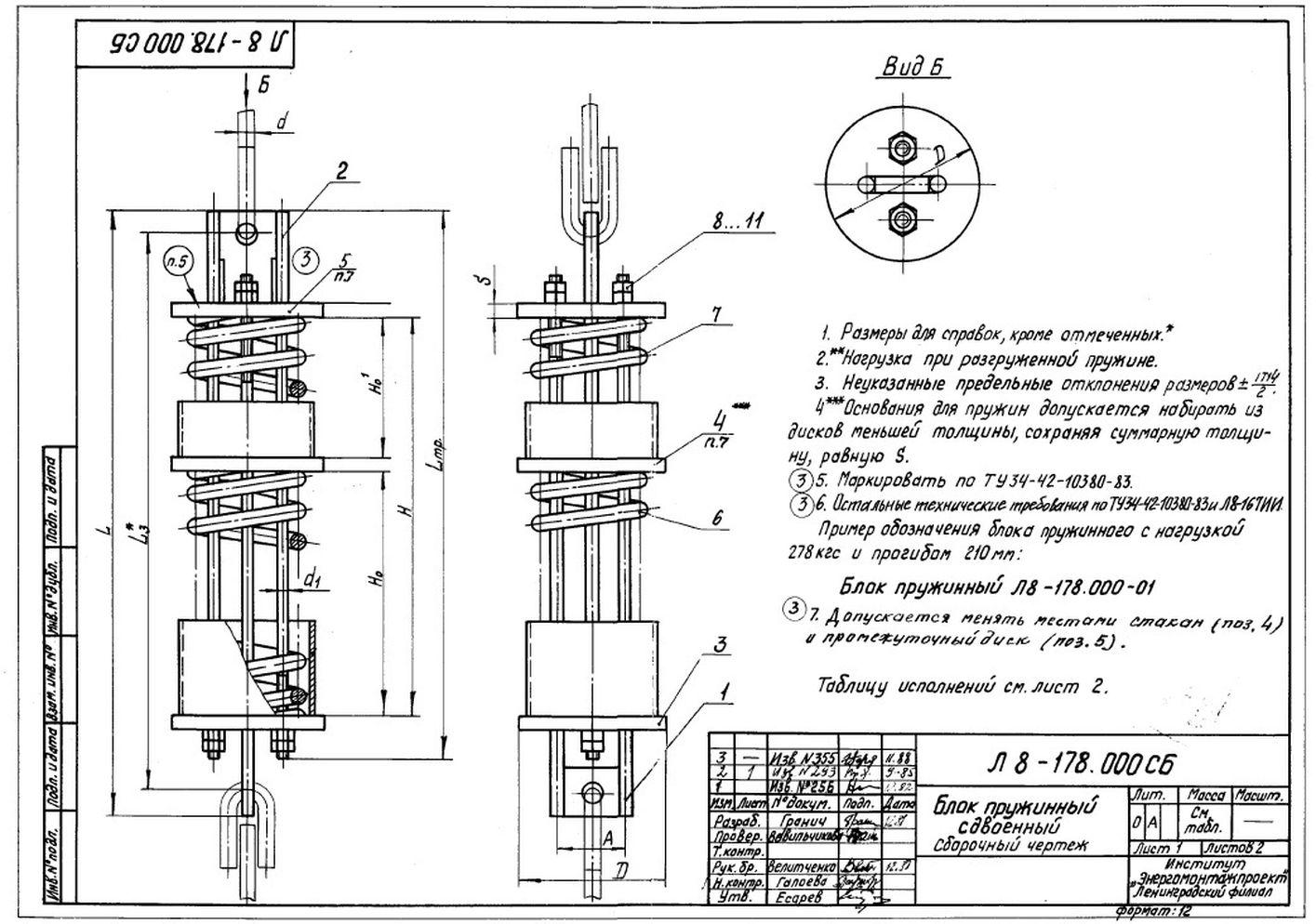 Блоки пружинные сдвоенные Л8-178.000 стр.1
