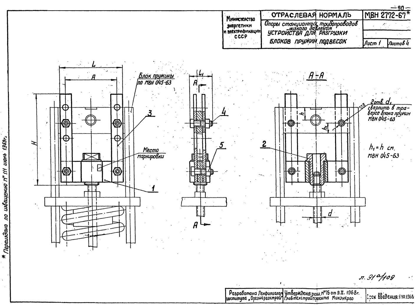 Устройства для разгрузки блоков пружин подвесок МВН 2772-67