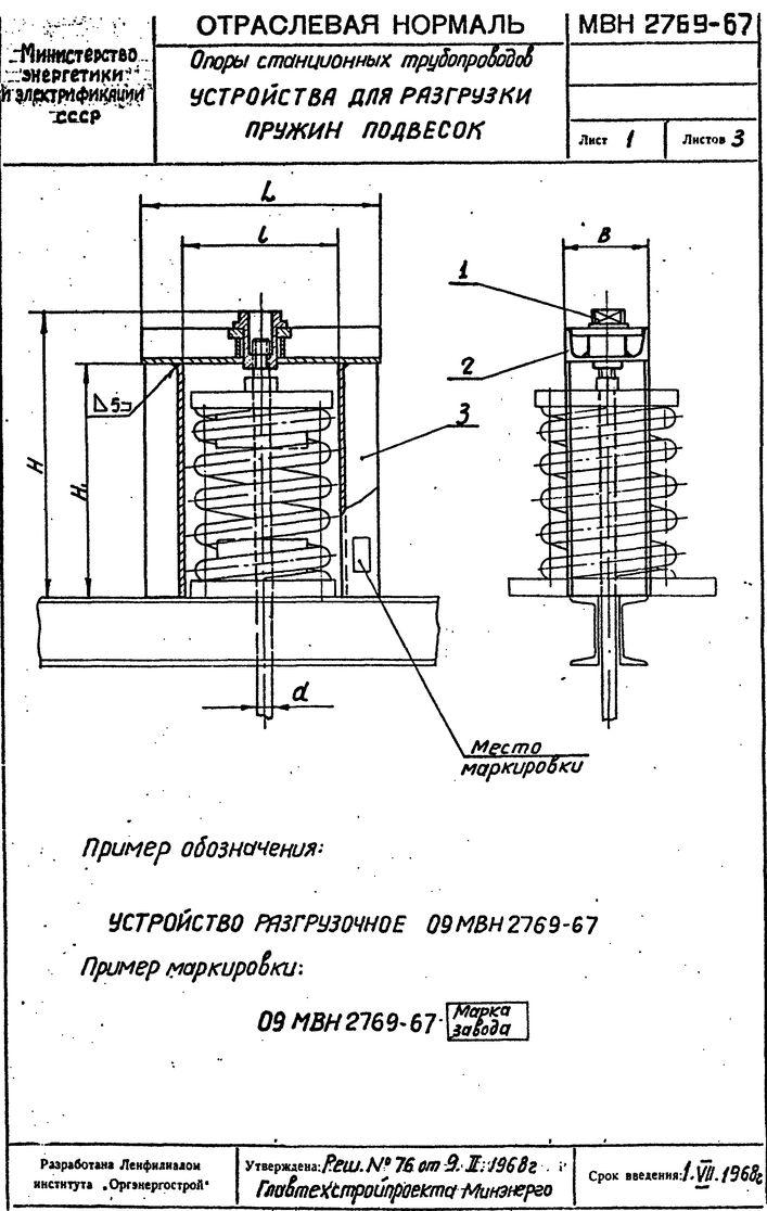Устройства для разгрузки пружин подвесок МВН 2769-67