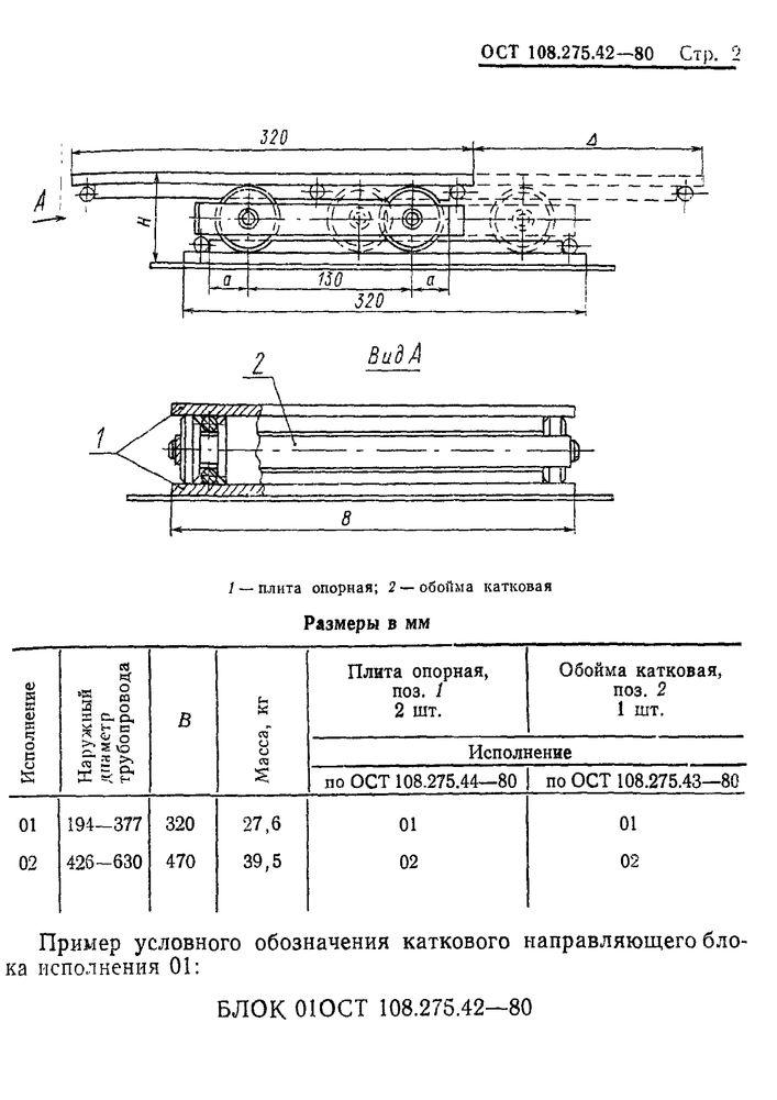 Блоки катковые направляющие ОСТ 108.275.42-80 стр.2