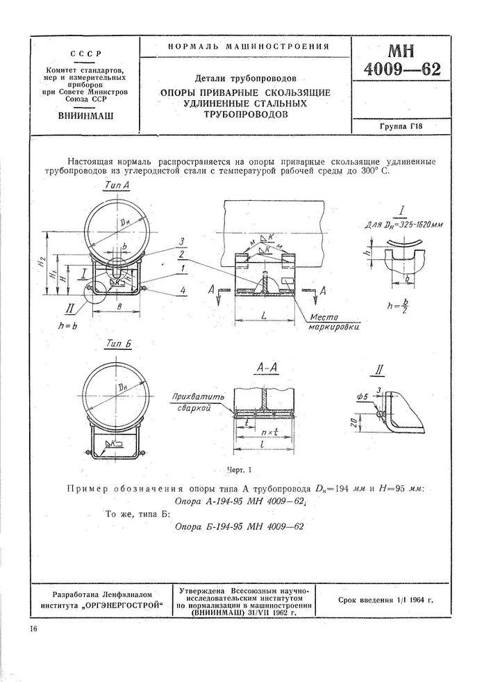 МН 4009-62 Опоры приварные скользящие удлиненные