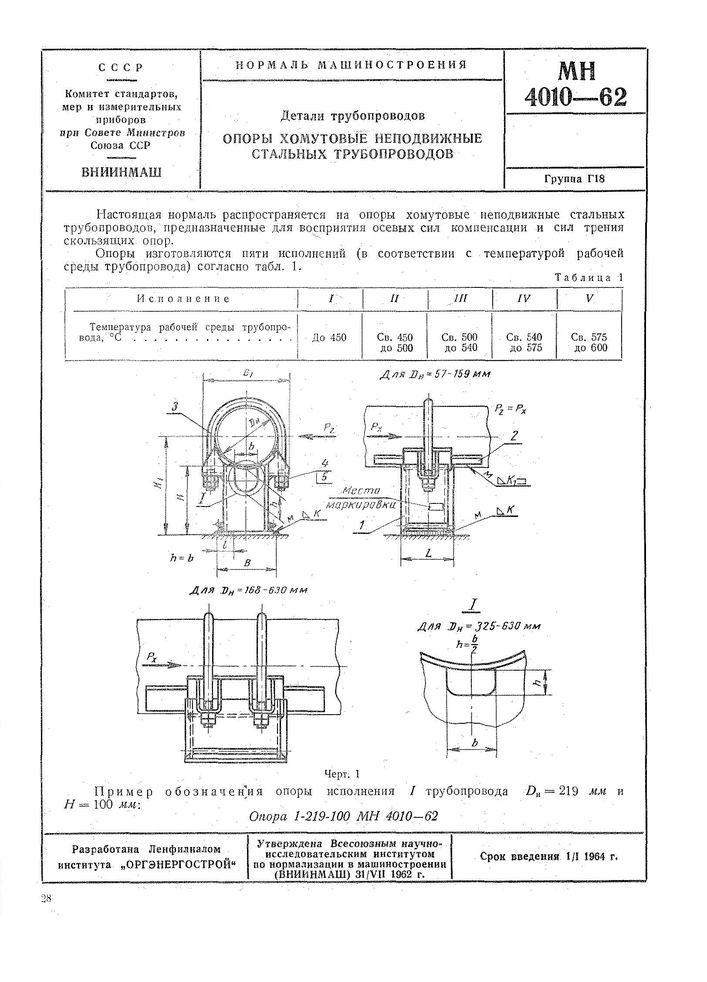 МН 4010-62 Опоры хомутовые неподвижные