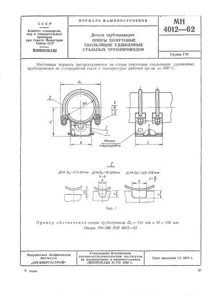 MN 4012-62 Opory homutovye skolzyashchie udlinennye