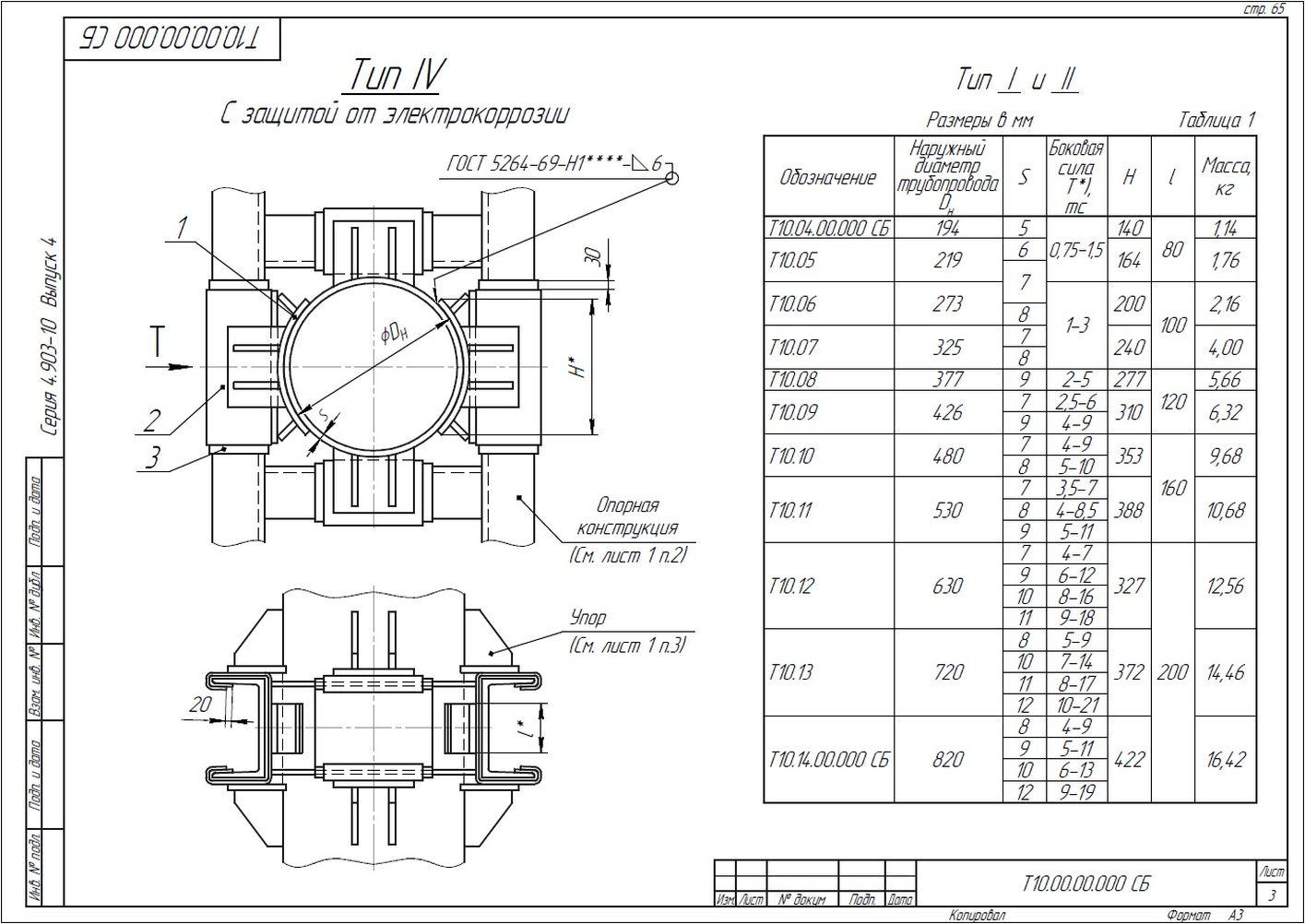 Опора неподвижная боковая Т10 серия 4.903-10 вып.4 стр.3