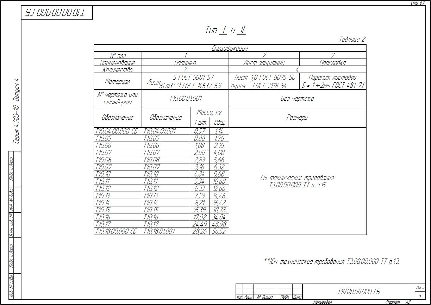 Опора неподвижная боковая Т10 серия 4.903-10 вып.4 стр.5