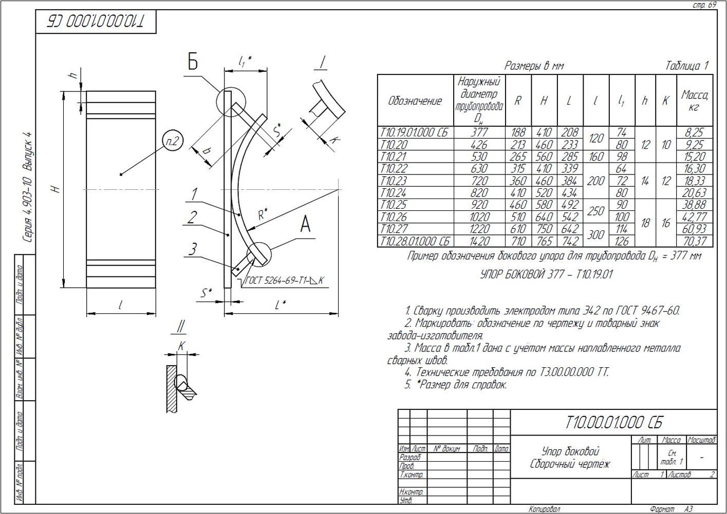 Опора неподвижная боковая Т10 серия 4.903-10 вып.4 стр.7