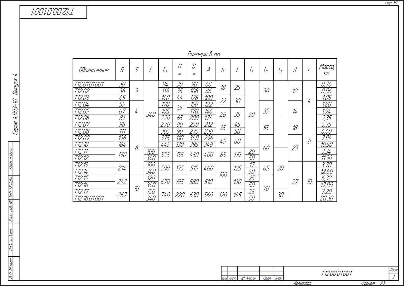 Опора неподвижная хомутовая Т12 серия 4.903-10 вып.4 стр.12