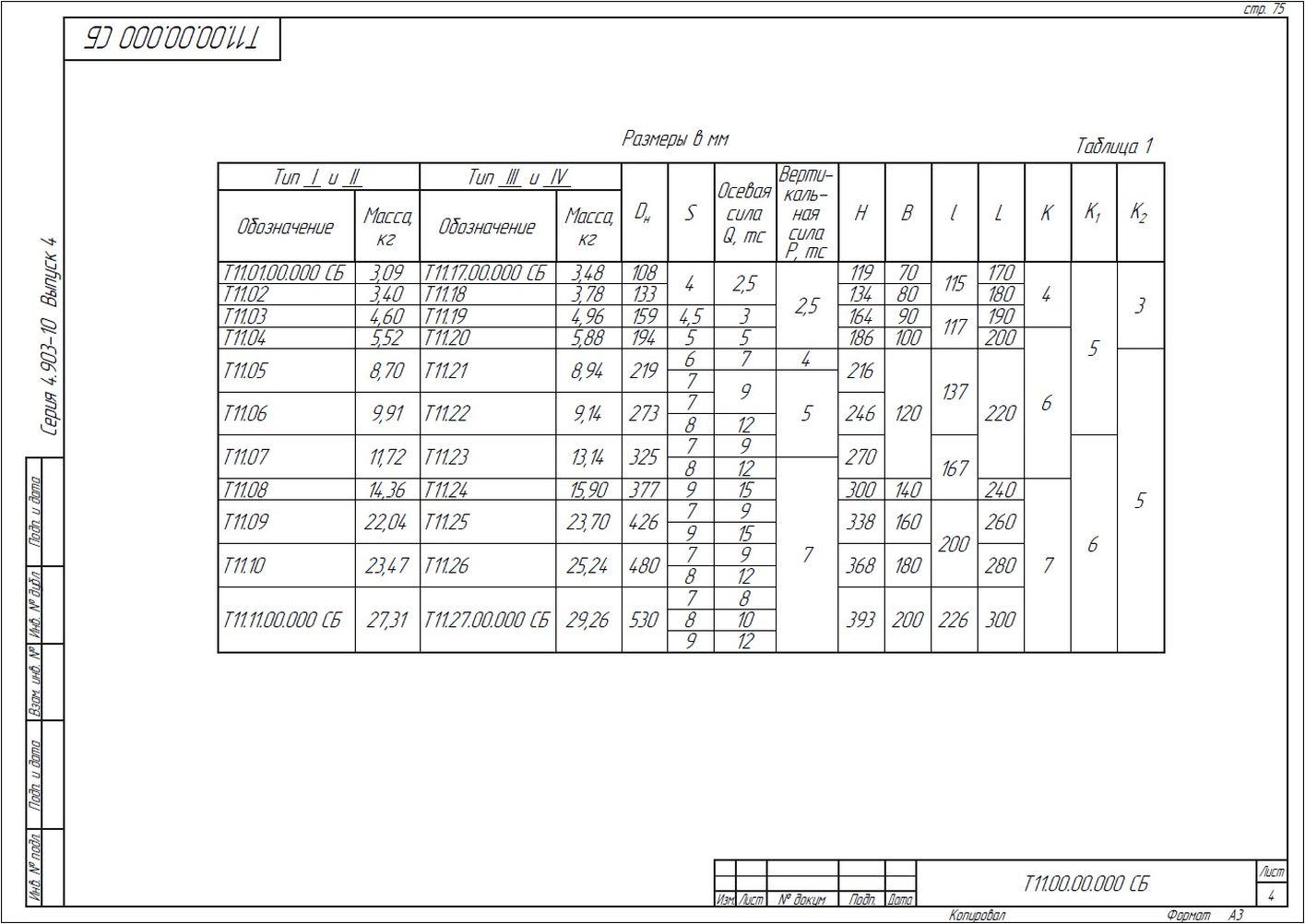 Опора неподвижная хомутовая бескорпусная Т11 серия 4.903-10 вып.4 стр.4