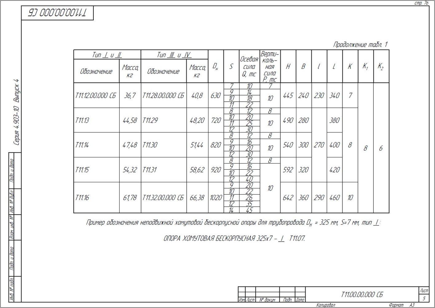 Опора неподвижная хомутовая бескорпусная Т11 серия 4.903-10 вып.4 стр.5