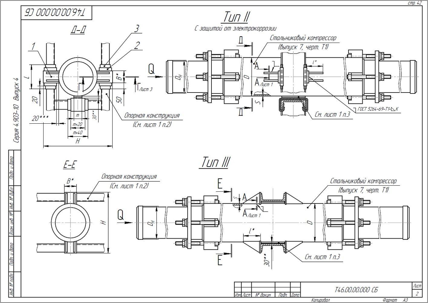 Опора неподвижная лобовая Т46 серия 4.903-10 вып.4 стр.2