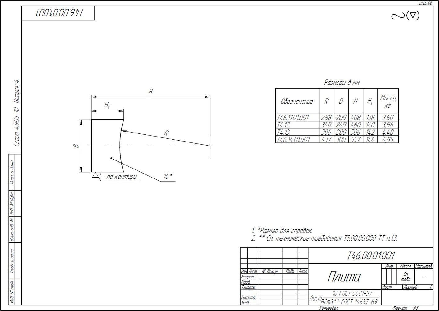 Опора неподвижная лобовая Т46 серия 4.903-10 вып.4 стр.6