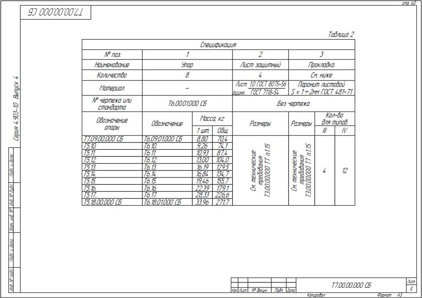 Опора неподвижная лобовая четырехупорная усиленная Т7 серия 4.903-10 вып.4 стр.5