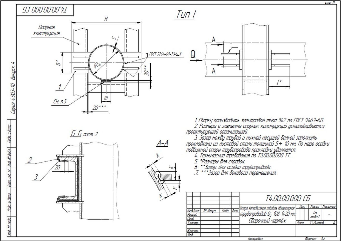 Опора неподвижная лобовая двухупорная Т4 серия 4.903-10 вып.4 стр.1