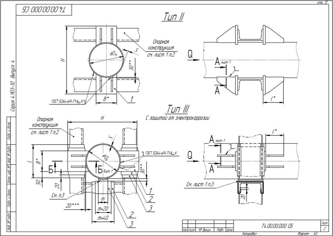 Опора неподвижная лобовая двухупорная Т4 серия 4.903-10 вып.4 стр.2