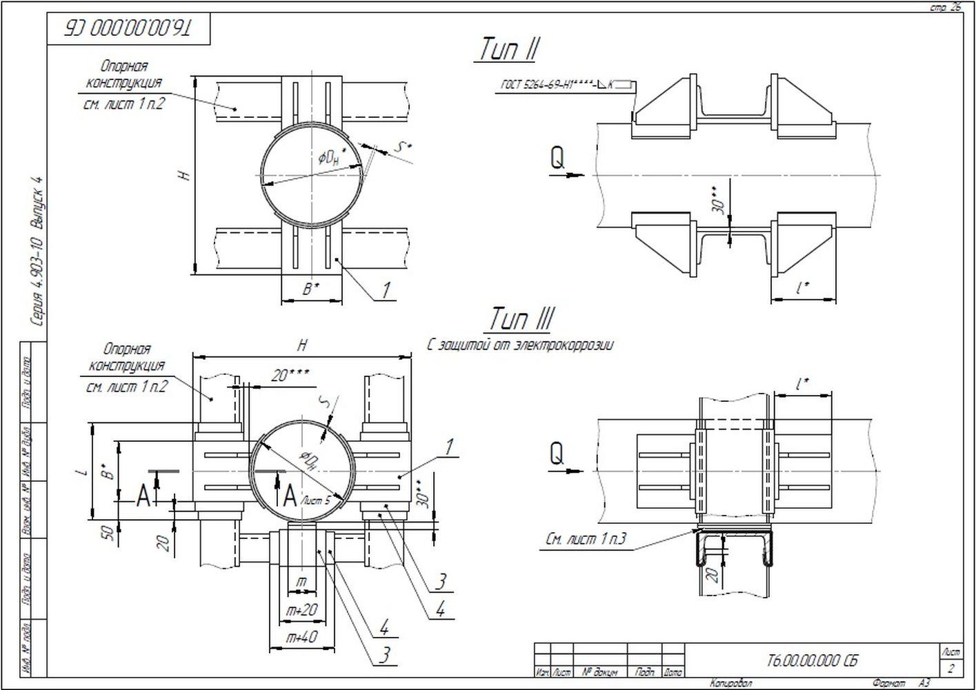 Опора неподвижная лобовая двухупорная усиленная Т6 серия 4.903-10 вып.4 стр.2
