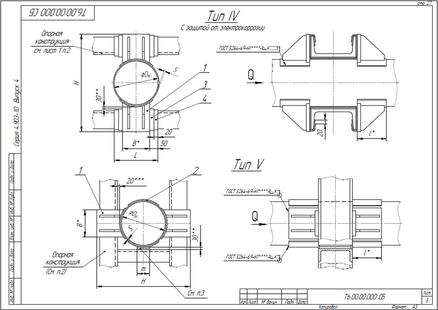 Опора неподвижная лобовая двухупорная усиленная Т6 серия 4.903-10 вып.4 стр.3