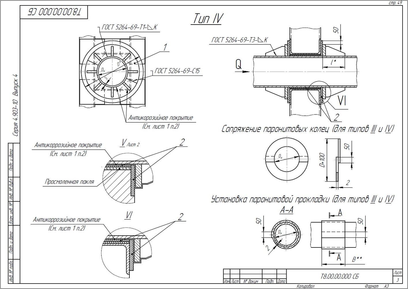 Опора неподвижная щитовая Т8 серия 4.903-10 вып.4 стр.3