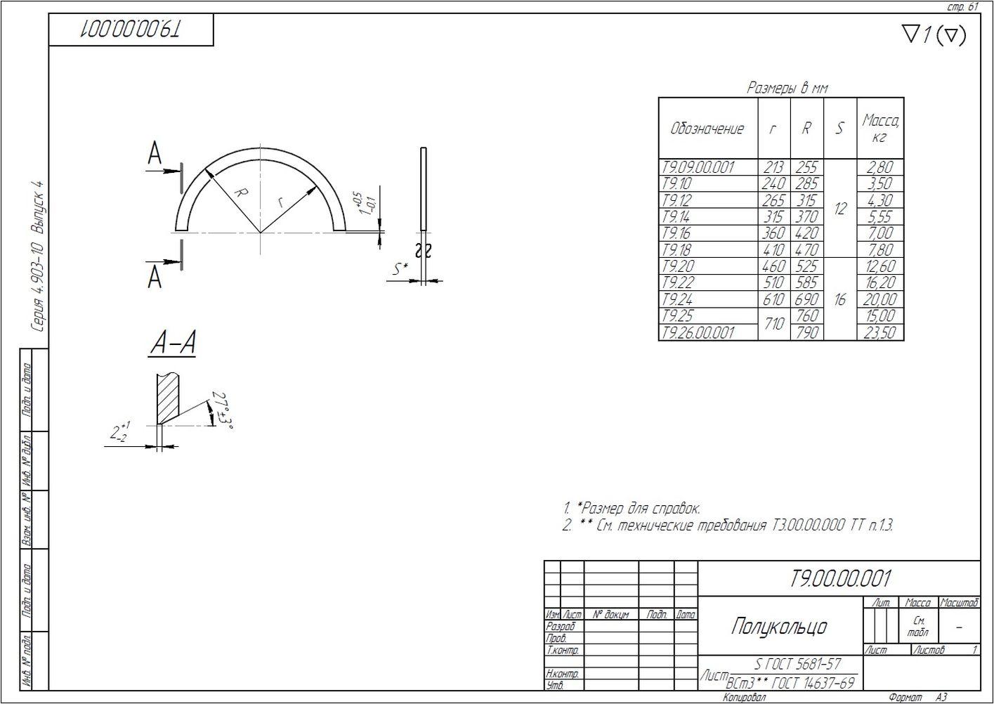 Опора неподвижная щитовая усиленная Т9 серия 4.903-10 вып.4 стр.8