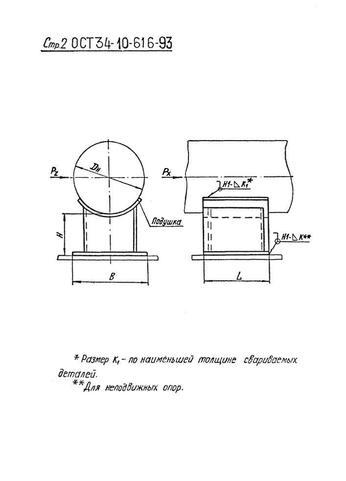 Опоры приварные скользящие и неподвижные ОСТ 34-10-616-93 стр.2
